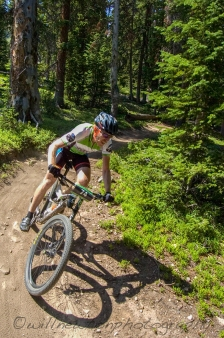 A mountain biker competes in the first annual Copper Crush mountain bike race. Copper Mountain, CO. Summer, 2016.