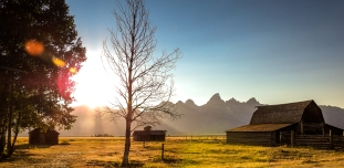 The sun sets over Grand Teton National Park, WY. August, 2016.