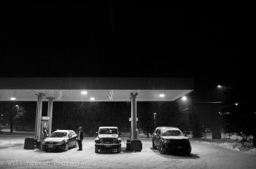 Gas station scene in Breckenridge, CO during a winter snowstorm. December, 2016.