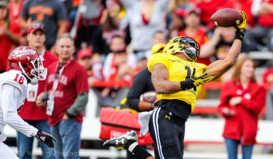 #1 DJ Moore of University of Maryland reels in a one handed catch against Indiana University. College Park, MD. October, 2017.