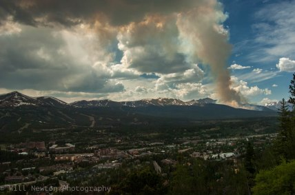 Smoke from the Gold Hill Fire is seen from Boreas Pass rd. in Breckenridge, CO. July, 2017