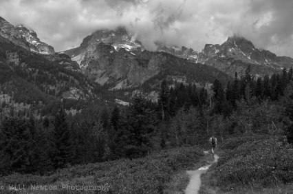 A lone hiker in the wilderness of Grand Teton National Park, Wyoming. July, 2017