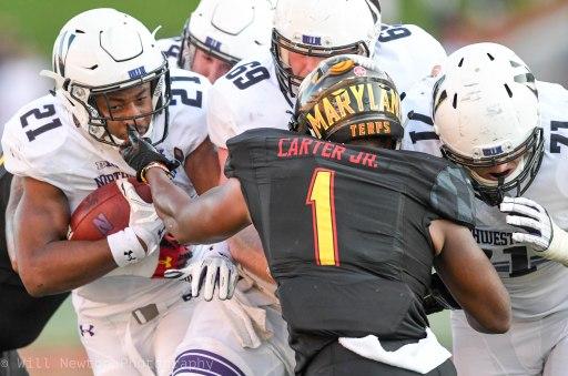 Gametime action of Northwesten vs. University of Maryland. College Park, MD. October, 2017.