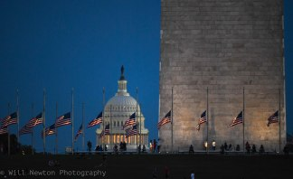 Flags surrounding the base of the Washing Monument are seen at half staff after the Las Vegas shooting. October, 2017