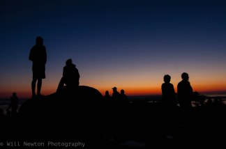 Visitor of Acadia National Park stand on top of Cadillac Mountain waiting for the sun to rise. August, 2017