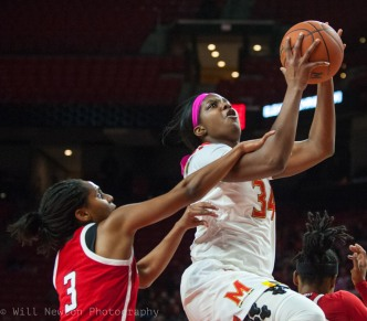 #34 Brianna Fraser of UMD goes up for a lay-up during game time action against Rutgers, February 1st, 2018.