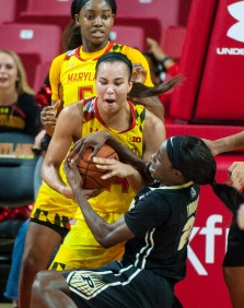 Game time action of University of Maryland versus Purdue University on February 14, 2018.