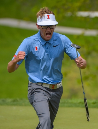A University of Illinois golfer celebrates after sinking a roughly 40 foot put during the Big Ten Men's Golf Tournament on April 28, 2018 in Baltimore, Maryland. (Photo by Will Newton)