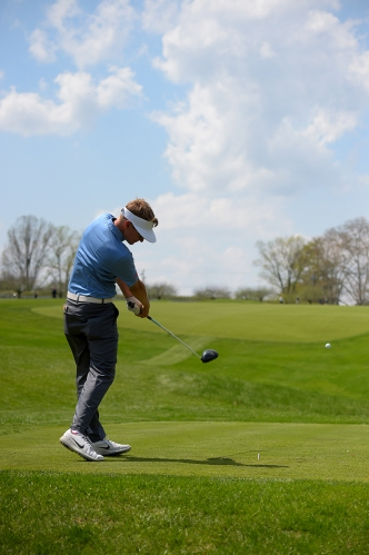 A golfer drives during the Big Ten Men's Golf Tournament on April 28, 2018 in Baltimore, Maryland. (Photo by Will Newton)