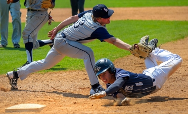St. Albans School starting pitcher Clark Klitenic(3) tags out Georgetown Preparatory School baserunner Thomas Williams(6) after being caught in a pickle during the 6th inning of the IAC championship baseball game in Bethesda, Maryland on May 12, 2018. (Photo by Will Newton for The Washington Post)