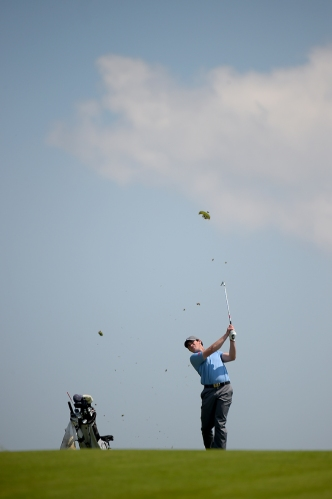 A golfer hits from the fairway during the Big Ten Men's Golf Tournament on April 28, 2018 in Baltimore, Maryland. (Photo by Will Newton)