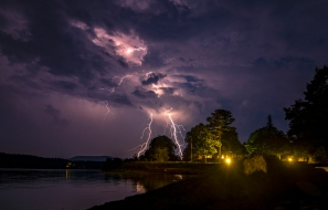 Lighting strikes over Somes Sound on Mount Desert Island during a summer storm in Somesville, Maine on August 7, 2018. Photo by Will Newton/Friends of Acadia/NPS