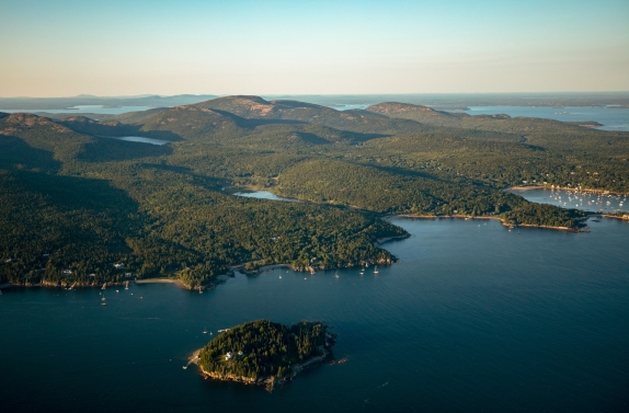 Mount Desert Island is seen from the sky during a flight tour of the island. Scenic Flights of Acadia led the tour with their Cessna 172 Skyhawk on August 23, 2018. Photo by Will Newton/Friends of Acadia/NPS