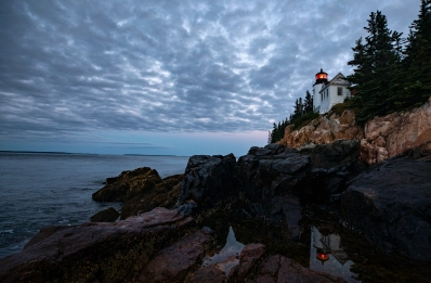 The Bass Harbor Head lighthouse during sunrise on August 23, 2018. Photo by Will Newton/Friends of Acadia/NPS