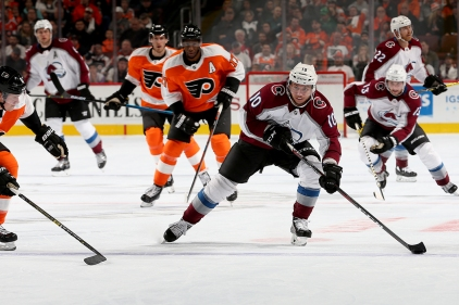 Sven Andrighetto #10 of the Colorado Avalanche skates against the Philadelphia Flyers during the third period at Wells Fargo Center on October 22, 2018 in Philadelphia, Pennsylvania. (Photo by Will Newton/Getty Images)