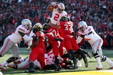 COLLEGE PARK, MD - NOVEMBER 17: J.K. Dobbins #2 of the Ohio State Buckeyes scores a touchdown against the Maryland Terrapins during the first half at Capital One Field on November 17, 2018 in College Park, Maryland. (Photo by Will Newton/Getty Images)