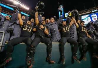 PHILADELPHIA, PA - DECEMBER 8: Army Black Knights celebrate with Army Cadets after defeating the Navy Midshipmen during the 119th Army-Navy game at Lincoln Financial Field in Philadelphia, PA on December 8, 2018. (Photo by Will Newton)