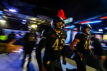 PHILADELPHIA, PA - DECEMBER 8: Army Black Knights run on to the field prior to the second half against the Navy Midshipmen at Lincoln Financial Field in Philadelphia, PA on December 8, 2018. (Photo by Will Newton)