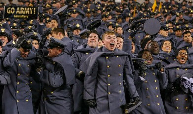 PHILADELPHIA, PA - DECEMBER 8: An Army cadet celebrates after a play during the second half against the Navy Midshipmen at Lincoln Financial Field in Philadelphia, PA on December 8, 2018. (Photo by Will Newton)