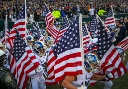 PHILADELPHIA, PA - DECEMBER 8: Navy Midshipmen run on to the field prior to the 119th Army-Navy game at Lincoln Financial Field in Philadelphia, PA on December 8, 2018. (Photo by Will Newton)