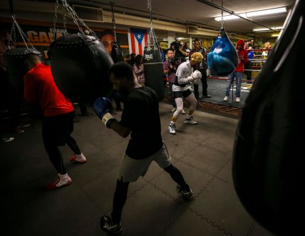 HILLCREST HEIGHTS, MD - NOVEMBER 15: Light middleweight world champion Jarrett Hurd (in white) works out at the Hillcrest Boxing Gym in Hillcrest Heights, MD on November 15, 2018. (Photo by Will Newton for The Washington Post)