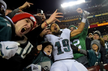 LANDOVER, MD - DECEMBER 30: Golden Tate #19 of the Philadelphia Eagles celebrates with fans after beating the Washington Redskins at FedExField on December 30, 2018 in Landover, Maryland. (Photo by Will Newton/Getty Images)
