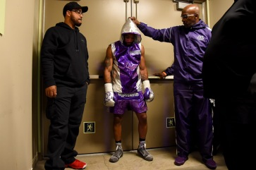 OXON HILL, MD - MARCH 24: Lamont Peterson waits to be introduced prior to his welterweight boxing match against Sergey Lipinets at The Theater at MGM National Harbor on March 24, 2019 in Oxon Hill, Maryland. (Photo by Will Newton/Getty Images)