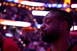 WASHINGTON, DC - MARCH 23: Dwyane Wade #3 of the Miami Heat looks on as the National Anthem plays prior to the game between the Washington Wizards and Miami Heat at Capital One Arena on March 23, 2019 in Washington, DC. NOTE TO USER: User expressly acknowledges and agrees that, by downloading and or using this photograph, User is consenting to the terms and conditions of the Getty Images License Agreement. (Photo by Will Newton/Getty Images)