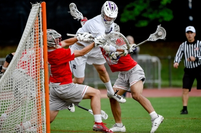 COLLEGE PARK, MD - MAY 13: Brian Collins #2 of Gonzaga shoots in front of George Alvarez #7 of St. John's during the WCAC final in College Park, MD on May 13, 2019. The goal was called back. (Photo by Will Newton for The Washington Post)