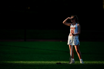 COLLEGE PARK, MD - MAY 13: Marymargaret Quinn #15 of Bishop Ireton looks on during a break in play during the WCAC final against Good Counsel in College Park, MD on May 13, 2019. (Photo by Will Newton for The Washington Post)
