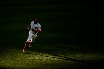 WASHINGTON, DC - MAY 15: Victor Robles #16 of the Washington Nationals warms up prior to the game against the New York Mets at Nationals Park on May 15, 2019 in Washington, DC. (Photo by Will Newton/Getty Images)