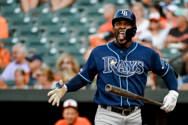 BALTIMORE, MD - JULY 13: Guillermo Heredia #54 of the Tampa Bay Rays reacts after swinging and missing during the third inning against the Baltimore Orioles during game two of a doubleheader at Oriole Park at Camden Yards on July 13, 2019 in Baltimore, Maryland. (Photo by Will Newton/Getty Images)