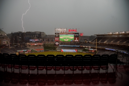WASHINGTON, DC - MAY 02: Lightning strikes during a rain delay prior to the start of the game between the Washington Nationals and the St. Louis Cardinals at Nationals Park on May 2, 2019 in Washington, DC. (Photo by Will Newton/Getty Images)