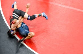 WALDORF, MD - FEBRUARY 09: Wrestlers during the 4A Maryland state wrestling finals at North Point High School on February 9, 2019 in Waldorf, MD. (Photo by Will Newton for The Washington Post)
