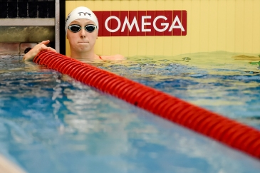 RICHMOND, VA - APRIL 11: Katie Ledecky prepares to warm up prior to her 200 meter freestyle race in the TYR Pro Series at the Collegiate School Aquatics Center in Richmond, VA on April 11, 2019. (Photo by Will Newton for The Washington Post)