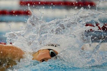 RICHMOND, VA - APRIL 11: Katie Ledecky competes in the 200 meter freestyle race in the TYR Pro Series at the Collegiate School Aquatics Center in Richmond, VA on April 11, 2019. (Photo by Will Newton for The Washington Post)