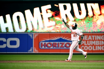 BALTIMORE, MD - AUGUST 20: Hanser Alberto #57 of the Baltimore Orioles rounds the bases after hitting a three-run home run during the eighth inning against the Kansas City Royals at Oriole Park at Camden Yards on August 20, 2019 in Baltimore, Maryland. (Photo by Will Newton/Getty Images)