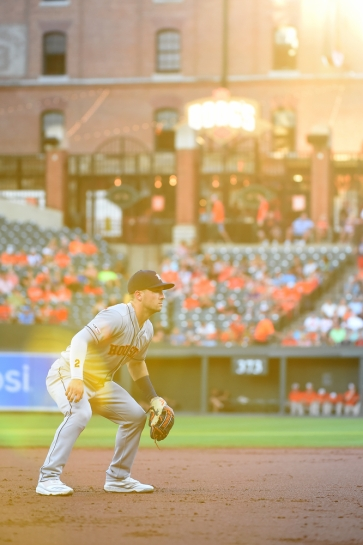 BALTIMORE, MD - AUGUST 10: Alex Bregman #2 of the Houston Astros looks on during the game against the Baltimore Orioles at Oriole Park at Camden Yards on August 10, 2019 in Baltimore, Maryland. (Photo by Will Newton/Getty Images)