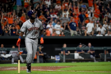 BALTIMORE, MD - AUGUST 10: Yordan Alvarez #44 of the Houston Astros watches as his grand slam leaves the park during the seventh inning against the Baltimore Orioles at Oriole Park at Camden Yards on August 10, 2019 in Baltimore, Maryland. (Photo by Will Newton/Getty Images)