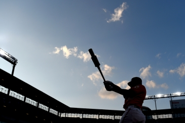 BALTIMORE, MD - AUGUST 03: Pedro Severino #28 of the Baltimore Orioles warms up in the on-deck circle during the first inning against the Toronto Blue Jays at Oriole Park at Camden Yards on August 3, 2019 in Baltimore, Maryland. (Photo by Will Newton/Getty Images)
