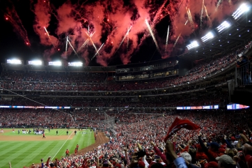 WASHINGTON, DC - OCTOBER 15: The Washington Nationals celebrate on the field after defeating the St. Louis Cardinals for Game Four of the National League Championship Series at Nationals Park on October 15, 2019 in Washington, DC. (Photo by Will Newton/Getty Images)