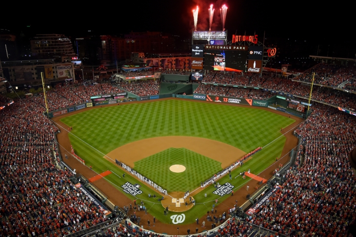 WASHINGTON, DC - OCTOBER 25: A general view of player introductions prior to the start of Game Three of the 2019 World Series between the Washington Nationals and the Houston Astros at Nationals Park on October 25, 2019 in Washington, DC. (Photo by Will Newton/Getty Images)