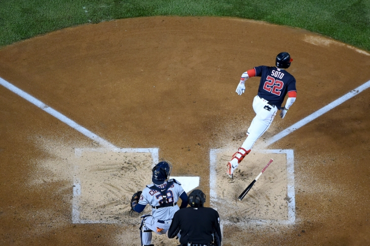 WASHINGTON, DC - OCTOBER 25: Juan Soto #22 of the Washington Nationals at bat against the Houston Astros during Game Three of the 2019 World Series at Nationals Park on October 25, 2019 in Washington, DC. (Photo by Will Newton/Getty Images)
