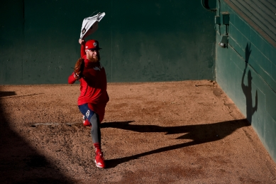 WASHINGTON, DC - OCTOBER 15: Sean Doolittle #63 of the Washington Nationals warms up prior to playing against the St. Louis Cardinals in Game Four of the National League Championship Series at Nationals Park on October 15, 2019 in Washington, DC. (Photo by Will Newton/Getty Images)
