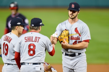 WASHINGTON, DC - OCTOBER 15: Dakota Hudson #43 of the St. Louis Cardinals is pulled by manager Mike Shildt #8 during the first inning of Game Four of the National League Championship Series against the Washington Nationals at Nationals Park on October 15, 2019 in Washington, DC. (Photo by Will Newton/Getty Images)