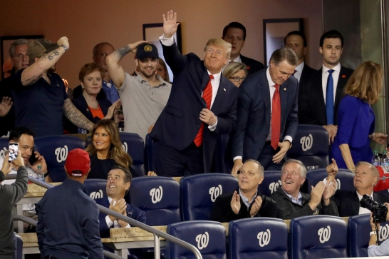 WASHINGTON, DC - OCTOBER 27: President Donald Trump attends Game Five of the 2019 World Series between the Washington Nationals and the Houston Astros at Nationals Park on October 27, 2019 in Washington, DC. (Photo by Will Newton/Getty Images)