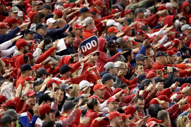 WASHINGTON, DC - OCTOBER 26: Fans cheer during Game Four of the 2019 World Series between the Washington Nationals and the Houston Astros at Nationals Park on October 26, 2019 in Washington, DC. (Photo by Will Newton/Getty Images)