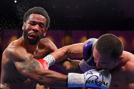 OXON HILL, MD - MARCH 24: Sergey Lipinets punches Lamont Peterson during their welterweight fight at The Theater at MGM National Harbor on March 24, 2019 in Oxon Hill, Maryland. (Photo by Will Newton/Getty Images)
