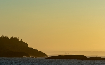 ACADIA NATIONAL PARK, ME - AUGUST 5: The rising sun illuminates sea mist and cliffs in Acadia National Park, ME on August 5, 2020. (Photo by Will Newton/Friends of Acadia)
