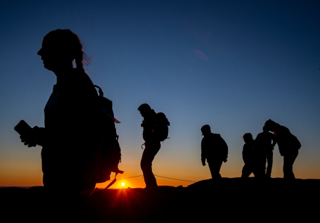 ACADIA NATIONAL PARK, ME - AUGUST 27: Park visitors watch the sunrise from the summit of Cadillac mountain in Acadia National Park, ME on August 27, 2020. (Photo by Will Newton/Friends of Acadia)